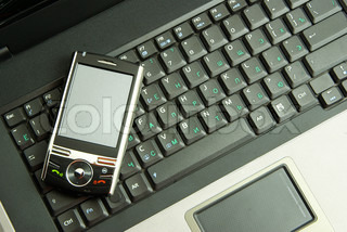 mobile on laptop