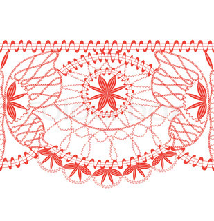 red lace border seamless on a white