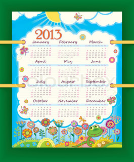 Calendar for 2013. The week starts with Sunday. Sunny day at the flower meadow. Little funny snake.