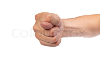 Hand is showing a fig sign isolated on white