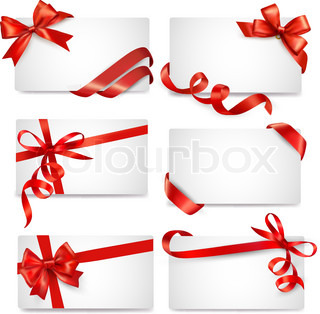 Set of card notes with red gift bows with ribbons Vector