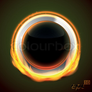Glossy round button set on fire, chrome metal and black glass, eps10 vector