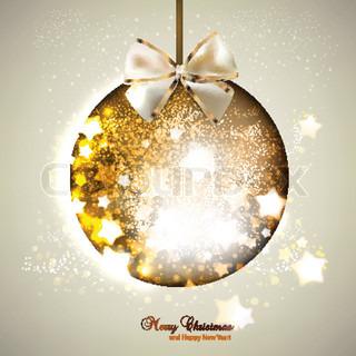 Elegant shiny christmas ball with ribbon Christmas background