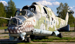Old Soviet military helicopter MI-24 with bullet prints on glass from Afganistan