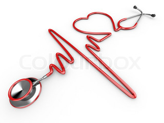 Stethoscope and a silhouette of the heart and ECG