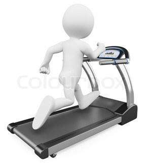 3D white people Running on a treadmill