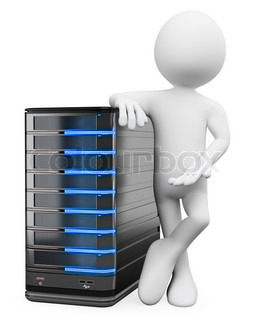 3D white people System administrator with a server