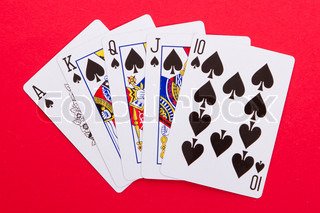 Old playing cards royal flush