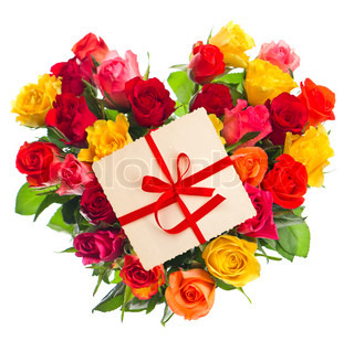 bouquet of roses with gift card