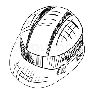 Safety Hard Hat Over White Construction