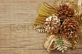 Christmas decoration on the old wooden background