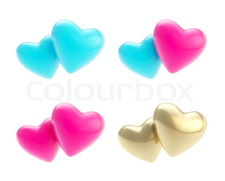 Set of hearts as heterosexual and gay relationships