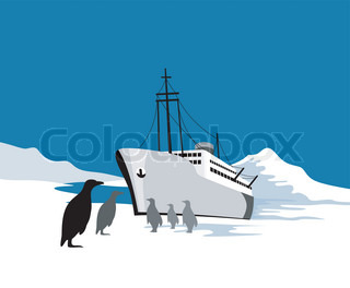 illustration of a passenger cargo ship done in retro style with penguins in the south pole antartic polarregion