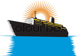 illustration of a passenger cargo ship done in retro woodcut style
