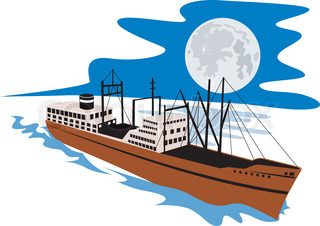 illustration of a passenger cargo ship done in retro style