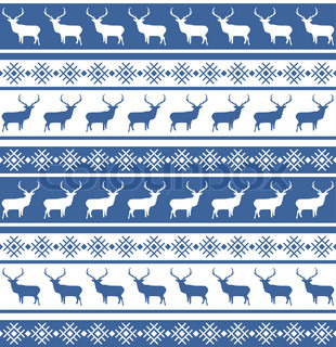 Christmas seamless pattern with deer EPS 8