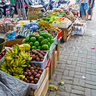 Traditional Fruit Market on Street, Bali