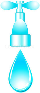 glossy  isolated tap and blue water drop on white background