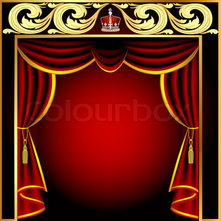 background with theatrical curtain and golden pattern