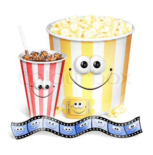 whimsical niedlichen Cartoon Popcorn, Soda-Kinokarte und Film Strip