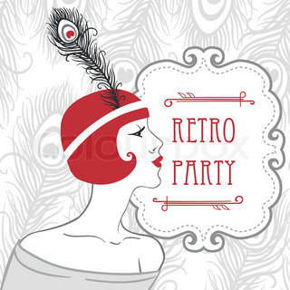 Flapper girls retro party invitation in 20's style