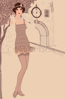 Flapper girls set: vintage woman in1920s style