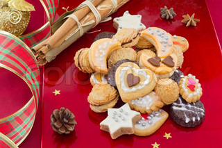 Christmas cookies, short bread in different shapes, festive background