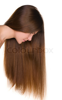 girl with long hairs and clean skin face