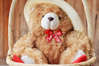 Teddy bear in the basket