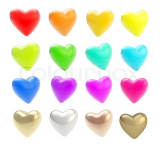 Set of glossy coloful hearts isolated on white