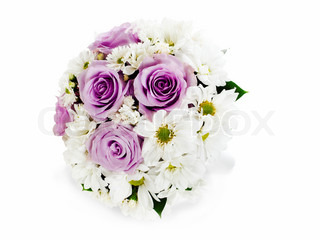 colorful flower wedding bouquet for bride arrangement centerpiece vase isolated on white background