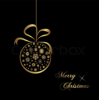 gold christmas ball on black background