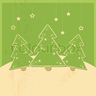 christmas card with christmas trees and stars, retro design