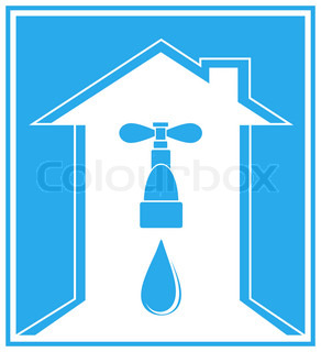blue icon with modern house, tap, water drop and arrow