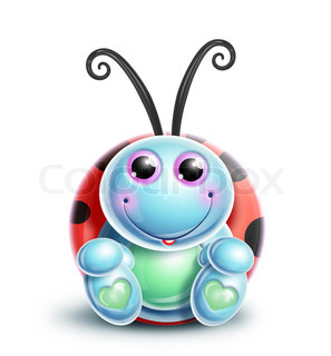 Kawaii Whimsical Cute Cartoon Ladybug