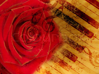 Vintage background with red rose and notes
