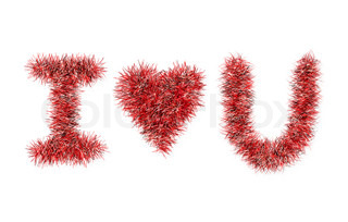 I love U with tinsel pattern on white background