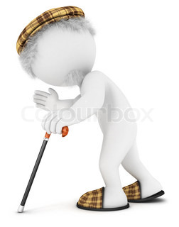3d white people old man walking with cane, isolated white background, 3d image