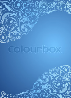 Blue vertical floral vector background with copy space.