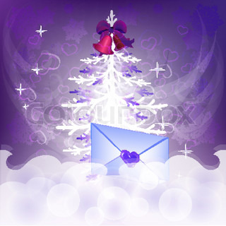 Christmas tree vector background with letter with greetings.
