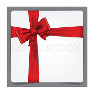 Squre paper sheet with red bow