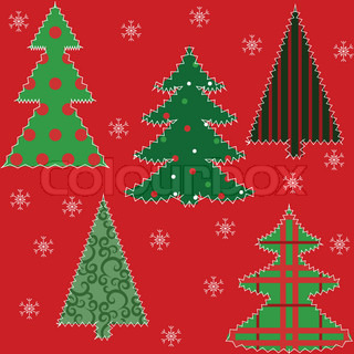 Christmas tree patchwork fabric