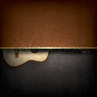 Abstract grunge red background with acoustic guitar
