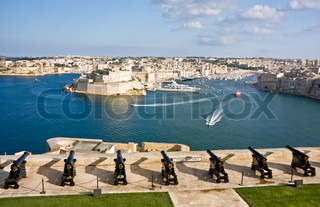 Grand Harbor and medieval cannons battery, Valetta, capital of Malta