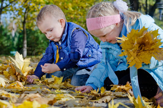 Happy children playing in autumn leaves