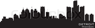 Detroit, Michigan. Detailed vector silhouette