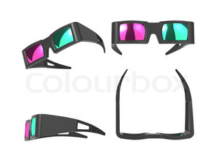 Anaglyph Glasses Over White