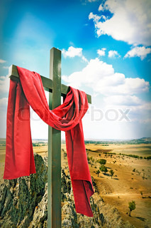 Wooden Cross With Red Cloth Stock Photo Colourbox