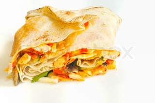 pita bread pockets filled with ham and vegetables