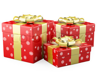 Three red Christmas gifts with a gold ribbon